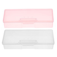 Wholesale 1PC Plastic Nail Supplies Tools Storage Box Rectangle Nail Art Studs Brushes Tools Holder Case Pink White Transparent