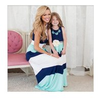 Wholesale New Look Fashion Dress - 2017 new summer mother daughter Long maxi dresses 2 color family look clothing mom and daughter Striped dress weave matching dress