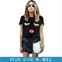 Wholesale Eyes Print Cotton - 2017 New Summer Fashion Eye Lashes Red Lips Loose T-shirts Print Women girl T Shirt Cotton Women's Clothing Short Sleeve Tee Color White