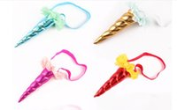 Wholesale Wholesale Gauze Fabric - NEW children's Unicorn headbands with golden horned party animal headbands children's flower gauze net headband six colors can choose