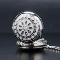 Wholesale Ladies Crystal Necklace Watches - Fashion Modern Silver Crystal Flower Quartz Pocket Watch Necklace Pendant Women Lady Girl Birthday Gift Relogio De Bolso Antigo