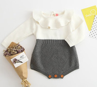 Wholesale Hand Crochet Clothing - 2017 INS baby clothes spring autumn hand made woolen clothing boutique knitted rompers kids crochet cotton onesies peter pan collar jumpsuit