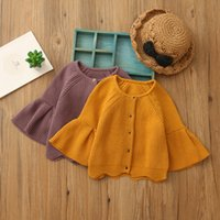 Wholesale Hole Cardigans - Everweekend Girls Knitted Sweater Cardigans Bell Sleeve Candy Orange Purple Color Cute Autumn Spring Jackets Outwears