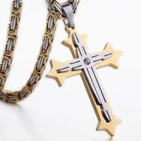 Wholesale Byzantine Cross Pendant - 2017 Fashion silver gold tone men boys cross necklace pendant chain stainless steel byzantine box necklace