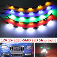 30cm 15 LED Daytime Running lights DC 12V 5050 Waterproof Auto Car DRL Drain Fog Lamp Flexible LED Strip Light Grille de course