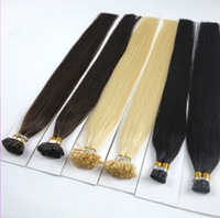 Wholesale ombre glue hair extensions remy resale online - European Remy Hair Extension Straight Nail U Tip Human Fusion Hair g strand strands Italy glue European U tip hair