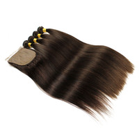 Wholesale human hair weave silk base closure resale online - 4 Bundles With Silk Base Closure Silky Straight Human Hair Extensions Darkest Brown Brazilian Remy Human Hair Weave
