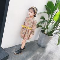 Wholesale Long Corsets Wholesale - Children dresses fashion girls cotton floral long sleeve corset vintage bows belt dress 2017 new autumn kids clothing C0576