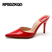 Wholesale China Shoes Sandal - Shoes Patent Leather 33 Sandals Red Thin Pointed Toe Pumps 4 34 Small Size Mules Slipper Ladies High Heels China 2017 Summer