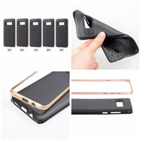 Wholesale iphone carbon fiber bumper - Galaxy S8 Plus Bumper Armor Hybrid Carbon Fiber Case For Iphone 7 Plus Iphone7 7P 5.5 6 6S Vertical Hard Plastic+Soft TPU 2in1 Frame Cover