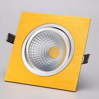 focos de luz led de oro al por mayor-Venta al por mayor- Cuadrada 10W Concha de oro COB Led Empotrable Luces de abajo lámpara de foco de luz led regulable AC90-240V Blanco / Frío + Conductores Led