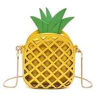 Wholesale Pineapple Purses - 2017 Leather Cute Handbag For Women Lovely Pineapple Girl Messenger Bag With Chain Hollow Out PU Women Bag Mini Purse