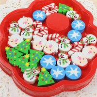 Wholesale mini eraser rubber - Wholesale- New Hot 1 Box Mini Christmas Santa Tree Pencil Rubber Eraser For Kid Children Xmas Stationery Gifts Supplies