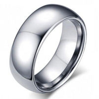 Wholesale Silver Male Wedding Ring - Classic male Real silver 18K white Gold Plated 8mm Titanium Steel Women Men Wedding Ring Top Quality Do not fade Lovers Wedding Jewelry
