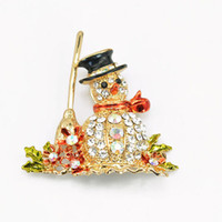 Wholesale Christmas Snowman Crystal Pins - Wholesale- 2015 Fashion Cute Snowman Shine Christmas Brooch Pins Crystal Rhinestone Gifts