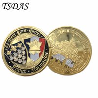 Wholesale Military Plates Metal - Normandie War 70-year Anniversary Commemorative Coin 24K Gold Plated Military Medal 40*3 Souvenir France Coin Gift For 2016