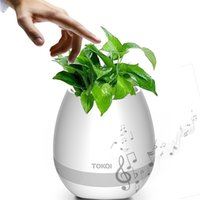Wholesale Mini Flower Pots Gifts - 2017 NEW hot bluetooth Smart Music Flower pots intelligent real plant touch play flowerpot colorful light Christmas gift Free DHL