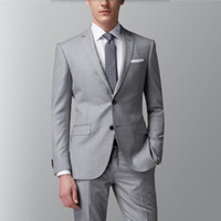 Wholesale Tailored Suits For Men Purple - Gray man business Suit handsome Wedding Suits For Men Slim Fit Groom party Tuxedos Tailor Made prom Suits(jacket+pants)