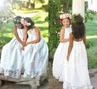 Wholesale Wedding Dress Bow Halter - 2018 New Cheap Halter Beach Boho Flower Girls Dresses For Weddings Full Lace Sleeveless Backless Floor Length First Communion Dress