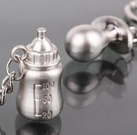 ingrosso bottoni di bottiglia-Wholesale- 1pairs Portachiavi placcato argento Bottiglia di latte Capezzolo Portachiavi baby shower regalo di nozze portachiavi gioielli fascino favore