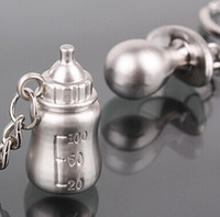 Wholesale Charms Baby Shower - Wholesale- 1pairs Silver Plated key chains Milk bottle Nipple Key ring baby shower wedding gift keychain favor charm jewelry
