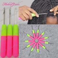 Wholesale Wholesale Plastic Knitting Needles - Plastic Crochet Braid Needle Feather Hair Extension Tools Wig Hook Needle Threader Knitting Hair Crochet Needles To Install Braiding Hair