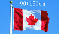 Wholesale Canadian Flags - Canada Banner Red Maple Leaves C.A National Flag 90*150cm 3*5ft Oriflamme Polyester Fibre Canadian Flags Factory Direct 6qta R