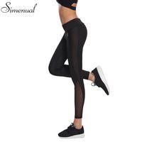 Wholesale Wholesale Female Jeggings - Wholesale- Mesh splice fitness leggings pants female clothing harajuku athleisure slim push up leggings women elastic black sexy jeggings