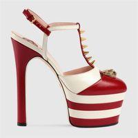 verschönerte kleider großhandel-Marke Mehrfarbige Hochzeit Kleid Schuhe Frauen T-Strap Hohe Plattformpumpen Nieten Verschönert Schnalle Hohe Marken
