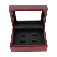 Wholesale Displays Case For Rings - 2 3 4 5 6 Holes Retro Style Jewelry Display Box Case for Championship Rings - Basketball Football Baseball Championship Rings Gift Box Case