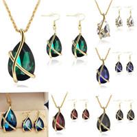 Wholesale Hook Diamond Earrings - Diamond Jewelry Set Water Drop Crystal Fish Ear Hook Earrings Necklace Set Bridal Wedding Jewelry Women Prom Party Accessories