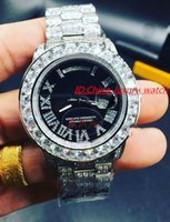 Wholesale Automatic Watch Big Case - 2017 Hot seller Luxury Big diamond brand automatic watch high quality stainless steel full diamond case blue face and black face White Green