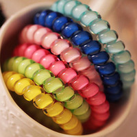 Wholesale hair gums online - 30Pcs Telephone Wire Line Cord Traceless Hair Ring Gum Headbands Colored Elastic Hair Band For Girl Hair Accessories Headwear