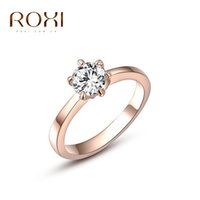 Wholesale Round Setting Diamond Ring 6mm - ROXI Real Gold Plated Six Claw CZ Diamond Round Cut 6mm Wedding Ring Austrian Crystals Wholesale For Women