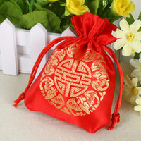 Wholesale Wholesale Chinese Satin Brocade - Drawstring Chinese Wedding Candy Bags Wedding Favor Box Embroidery Jewelry Pouches Brocade with Chinese Character Five Blessings