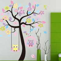baykuş bayrakları için duvar kağıtları toptan satış-Duvar Sticker Büyük Sevimli Baykuş Salıncak Çiçek Ağacı Çıkartması Karikatür Çıkartmalar Hayvan Bitki Dekorasyon Çocuk Odası Ev Dekor Için 8 5kx F R