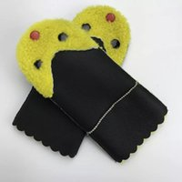 Wholesale Cheap Leather Mittens - Children's Mittens Gloves Accessories 2017 new Winter&Spring unisex 100%Wool leather Paint Blue Patchwork one SiteElastic Cheap Freeshipping