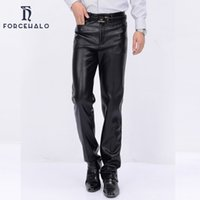 Wholesale New Korean Style Man Trousers - Wholesale-2016 Winter New Fashion Korean Style Men ZIpper Leather Pants Classic Waterproof Warm PU Trousers 29-38 Plus Size High Quality