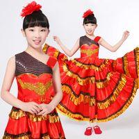 Wholesale Dancer Dresses Girls - New Fashion Girls Spanish Dancer Costume Flamenco Fancy Dress Red Black Senorita Child Kids dance wear