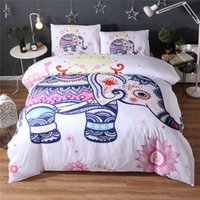Wholesale Red White Twin Comforter - 3D Reactive Print Bedding Sets Fashion Animal Bedclothes Elephant Flower Pattern 3pcs Twin Queen King US Size Polyester   Cotton