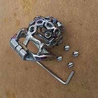 sexo masculino pequeño al por mayor-2017 Anillo de retención de acero inoxidable pequeño dispositivo de castidad masculina 38 mm, 41 mm, 51 mm, 57 mm Cock Cage con tornillo de pinchos juguetes sexuales para hombres