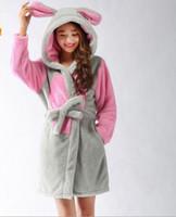 Wholesale Bunny Robe - Wholesale- Woman Gray Bunny Robes Coral Fleece Winter Bathrobes Cute Cartoon Gown on Sale