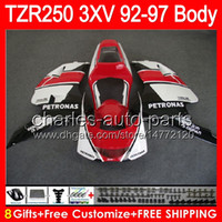 Wholesale Glossy White Yamaha - 8gifts glossy red Body For YAMAHA TZR-250 3XV TZR 250 92 93 94 95 96 97 88NO36 YPVS TZR250 1992 1993 1994 1995 1996 1997 red white Fairing
