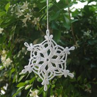 Christmas Snowflakes Applique, Decoração para casa White Crochet Snowflakes Embellishments, Holiday Ornaments, Christmas Decorations - One Set of 12 Pcs