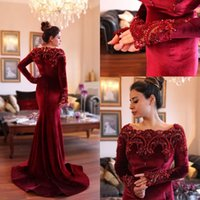 Wholesale Two Piece Abaya - Arabic Islamic Abaya in Dubai Muslim Prom Dresses Scoop Neck Dark Red Velvet Lace Crystal Beads Long Sleeve Mermaid Party Prom Gowns