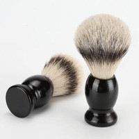 Wholesale Shaving Brush Handles - Superb Barber Salon Shaving Brush Black Handle Blaireau Face Beard Cleaning Men Shaving Razor Brush Cleaning Appliance Tools CCA7700 100pcs