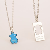 Wholesale Teddy Bear Necklace Pendants - Titanium steel couples necklaces for valentine's day gift Cute teddy bear kawaii series
