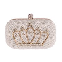 Vente en gros-Gold Diamant Couronne Perles Femmes Pearl Evening Bag Luxe Elegant Embrayage Superbe Bridal Wedding Party Sac à Main Mode Sac à Main MX162