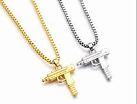 collares largos de oro para mujer al por mayor-Nueva Uzi cadena de oro Hip Hop collar largo colgante Hombres Mujeres marca de moda pistola forma de pistola colgante Maxi collar de joyería HIPHOP