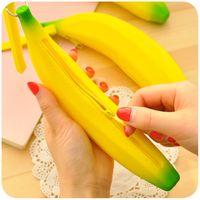 Wholesale Banana Leather - novelty banana pencil case kawaii pencil bag rubber coin purse estuches school supplies stationery